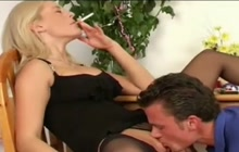 Smoking Blonde Gives Blowjob