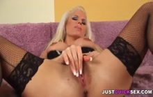 Blonde in fishnets fucked extremely hard