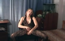 Solo masturbation in crotchless pantyhose
