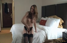 Ravishing Horny American Blonde Wife In Lingerie Enjoys An Intense Drilling