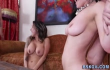 Stockinged pornstar with big tits rides