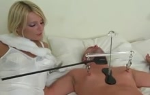 Blonde babe in lingerie torturing cock