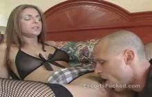 Slutty brunette gets pussy eaten