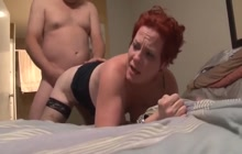 Mature with red hear anally fucked