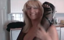 Blonde cougar in fishnets and her lesbian friend