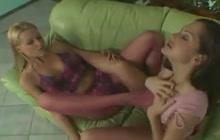 Horny lesbian girls in fishnets
