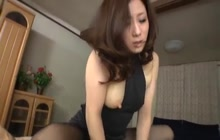 Japanese sexy chick in black pantyhose