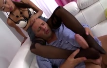 Asian babe Sharon Lee fucked in pantyhose