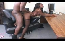 Curvy ebony secretary screwed hard