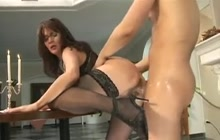 Busty mommy in stockings fucked hard