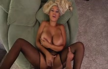 Blonde with big tits covered with fresh cum