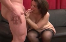 Chubby hooker in stockings banged