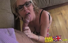 MILF in glasses fucked on porn audition