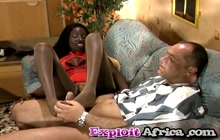 Ebony in pantyhose rides white cock